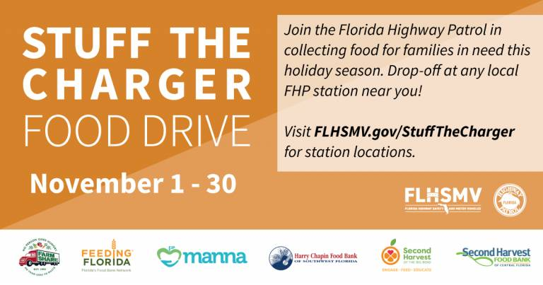 "FLHSMV, FHP Launch Annual ""Stuff the Charger"" Food Drive"